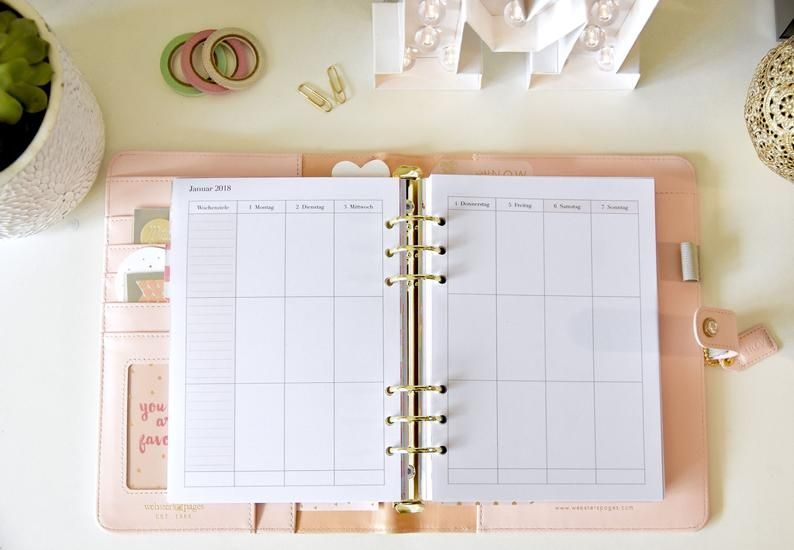 New 2020 Printable Weekly Planer Einlagen Vertikal Kalender A5 Planer Inserts Woche Auf 2 Seiten Weekly Planner Printable Filofax Planner Kit