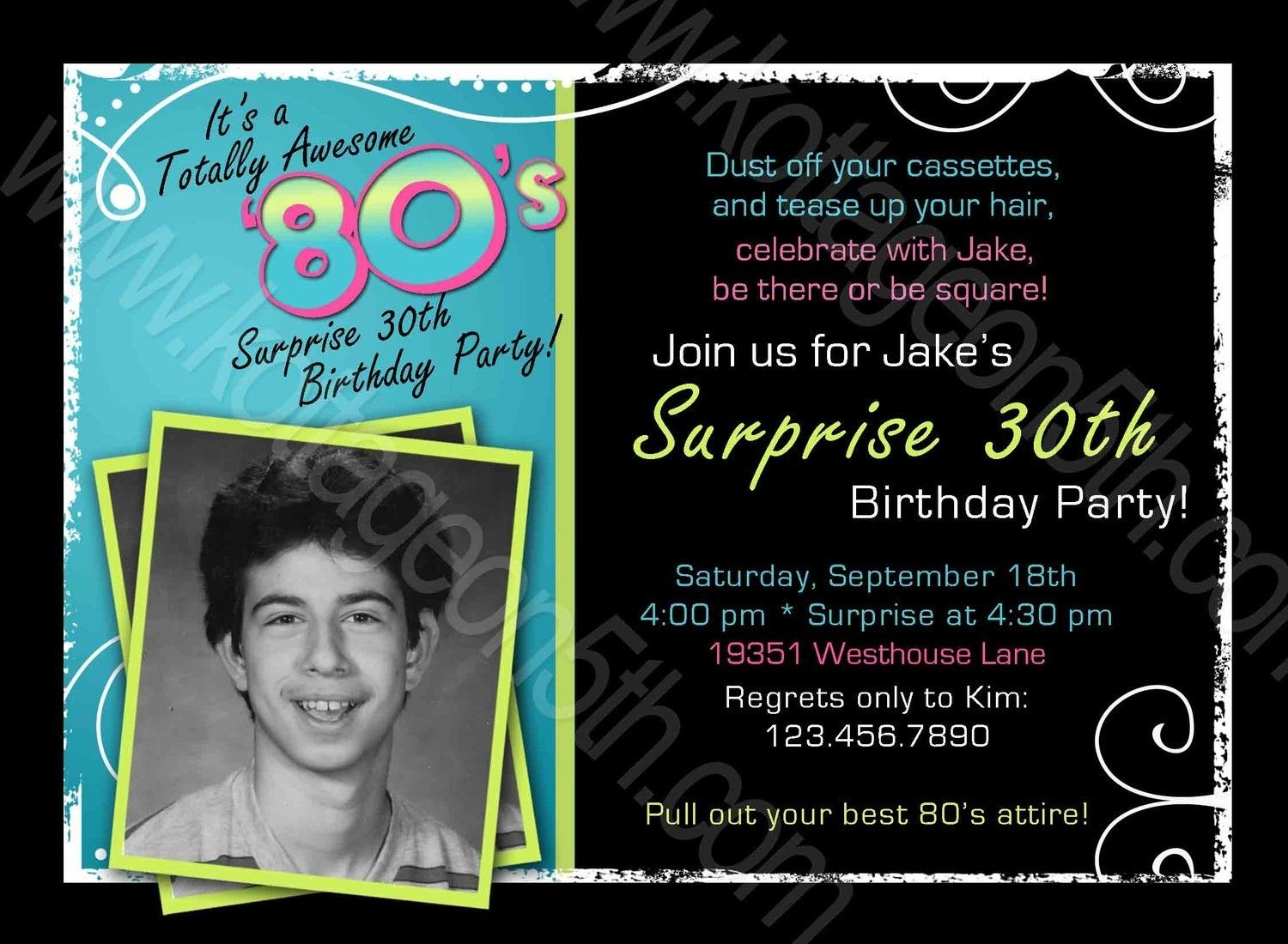 Totally Awesome 80s Adult Mens or Womens Birthday Party – Surprise 30th Birthday Invitations for Men