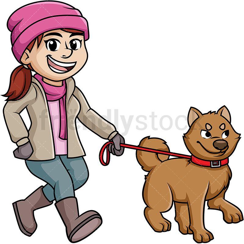 Woman Walking Dog In The Winter Cartoon Clipart Vector Friendlystock Cartoon Clip Art Dog Walking Cartoon