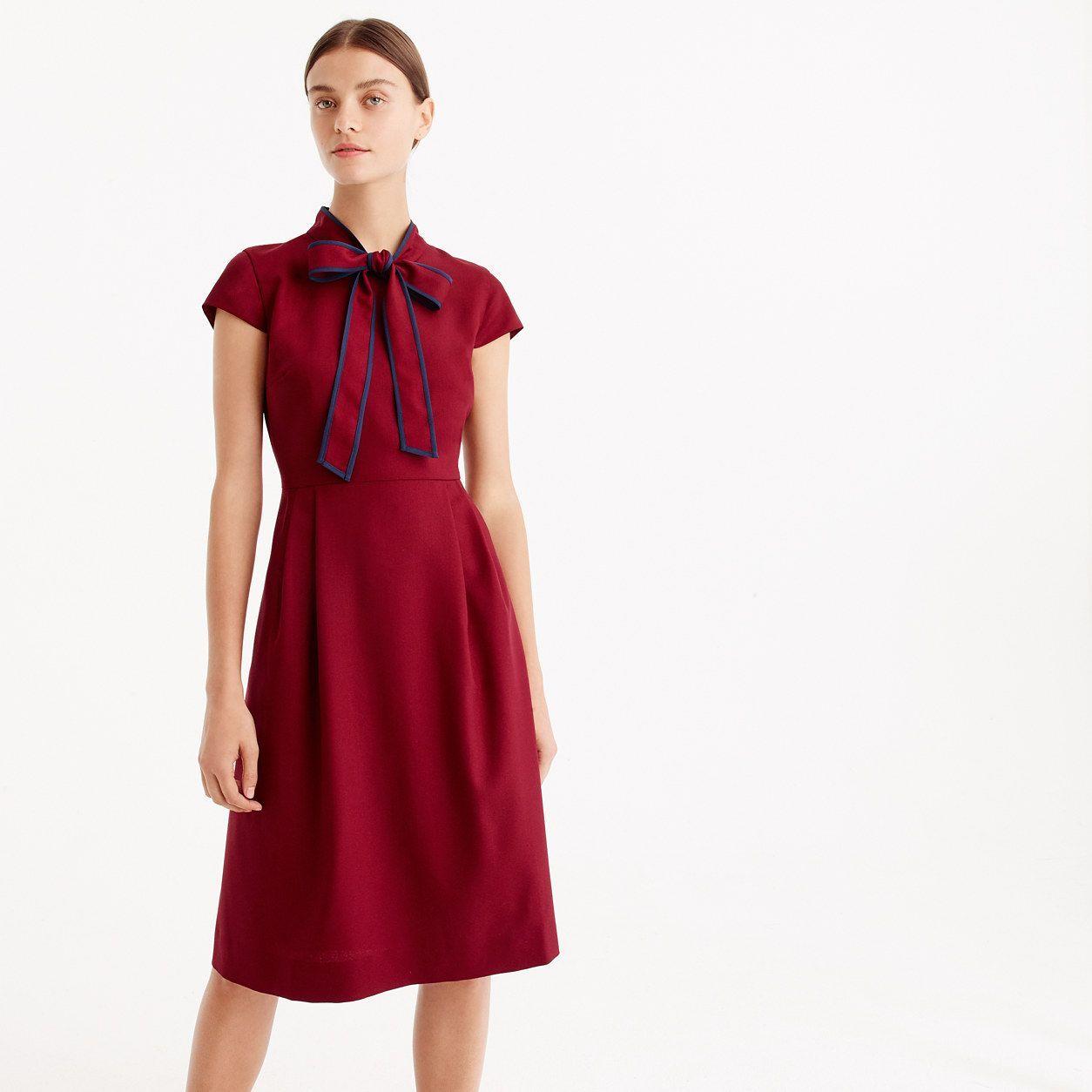 0de853d0e J.Crew Womens Tie-Neck Dress In Italian Wool Crepe   Outfit ...
