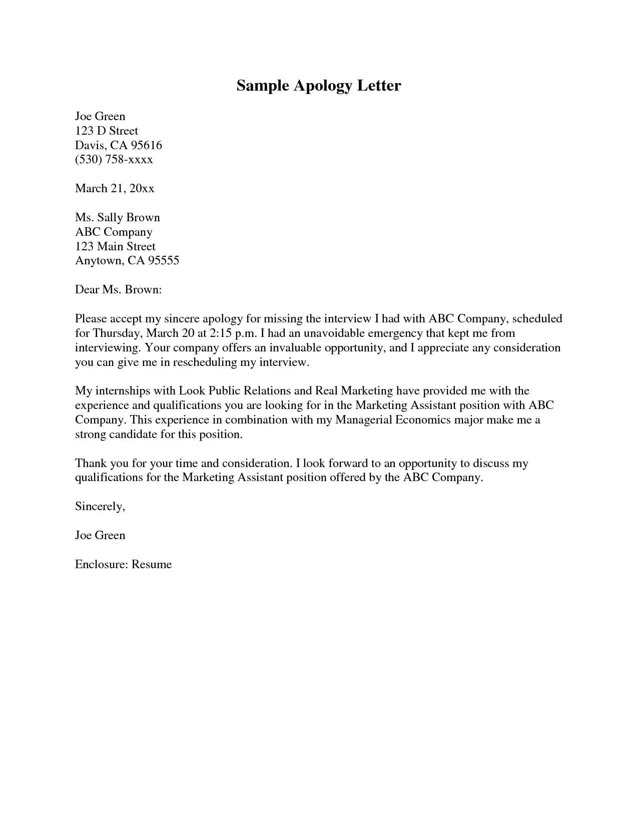 How To Write An Apology Letter To A Teacher Sampleletter Of Apology Business Letter Sample