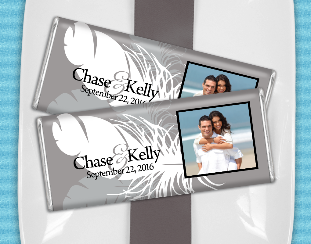 Gray + White Feather Wedding Favors - Personalized candy bars for a ...