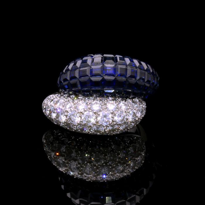 """Mystery-Set Sapphire & Diamond """"Double Boule"""" Ring by Van Cleef & Arpels"""