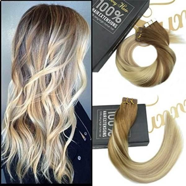 Tape In Brown To Dark Ash Blonde Highlight Blonde Human Hair