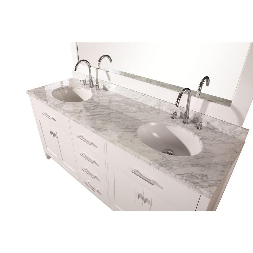 Design Element London 61 in. Vanity in Pearl White with Marble Vanity Top  and Mirror · Bathroom Double VanityWhite Granite ...