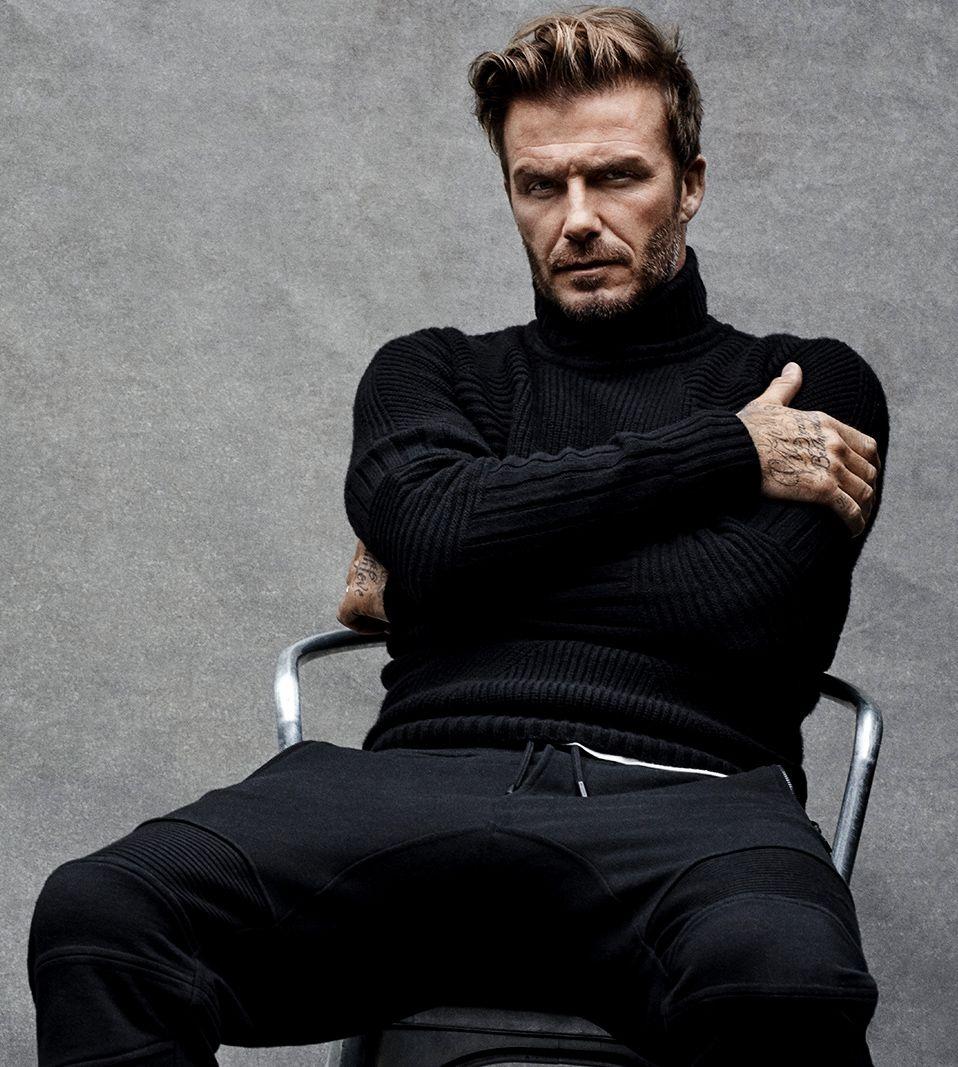 Black knit x black track bottoms. David Beckham.