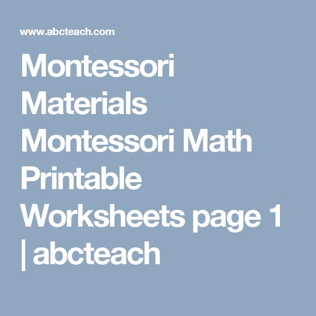 Montessori Materials Montessori Math Printable Worksheets page 1 ...