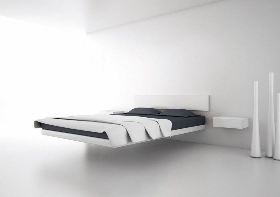 Bedroom Awesome Wall Mounted White Floating Bed Platform Design