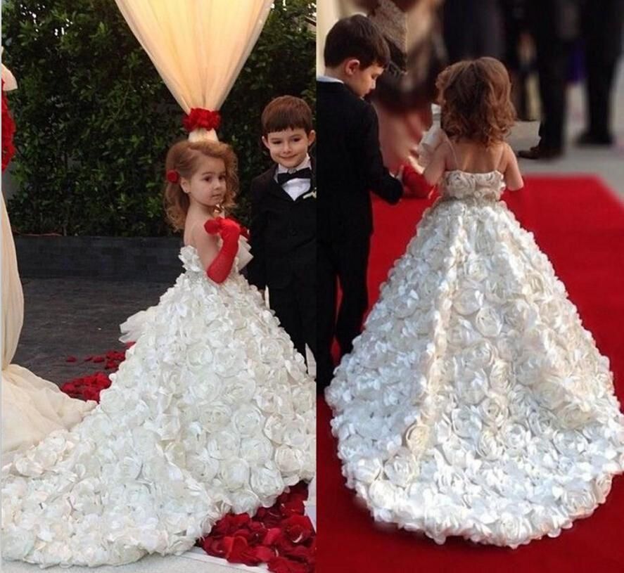 2016 wedding flower girls dresses for beach full handmade for Floral dresses for weddings