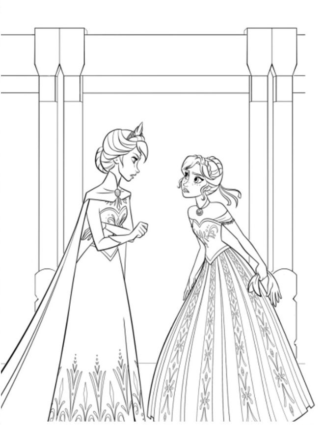 Coloriage reine des neiges elsa anna dispute - Coloriage de frozen ...