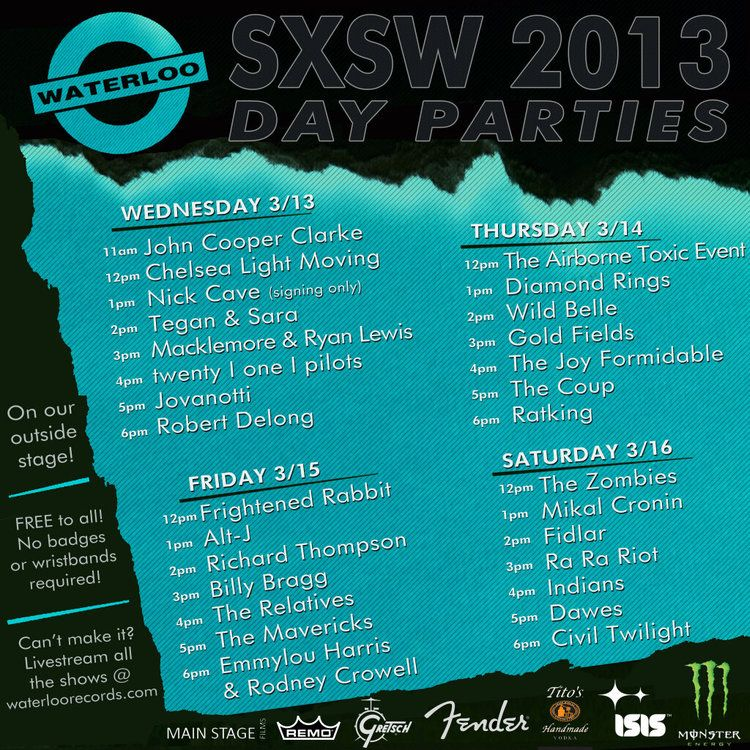 SXSW 2013: Waterloo Records Day Parties (3/13 - 3/16) :: FREE — Ultra8201