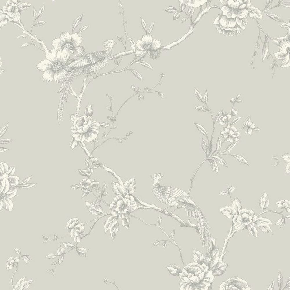 Shabby Chic Vintage Chinoise Birds Trees Wallpaper Yellow Teal