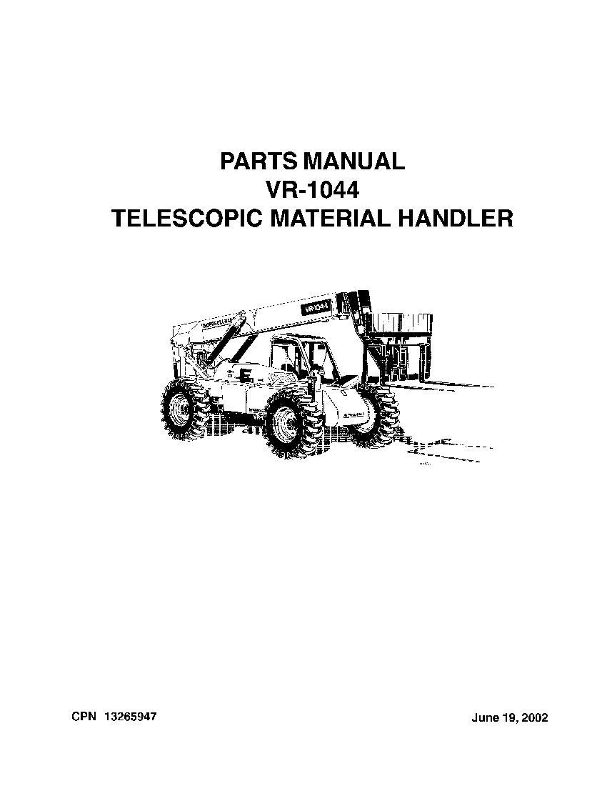 Ingersoll Rand VR-1044 Telehandler Parts Manual PDF