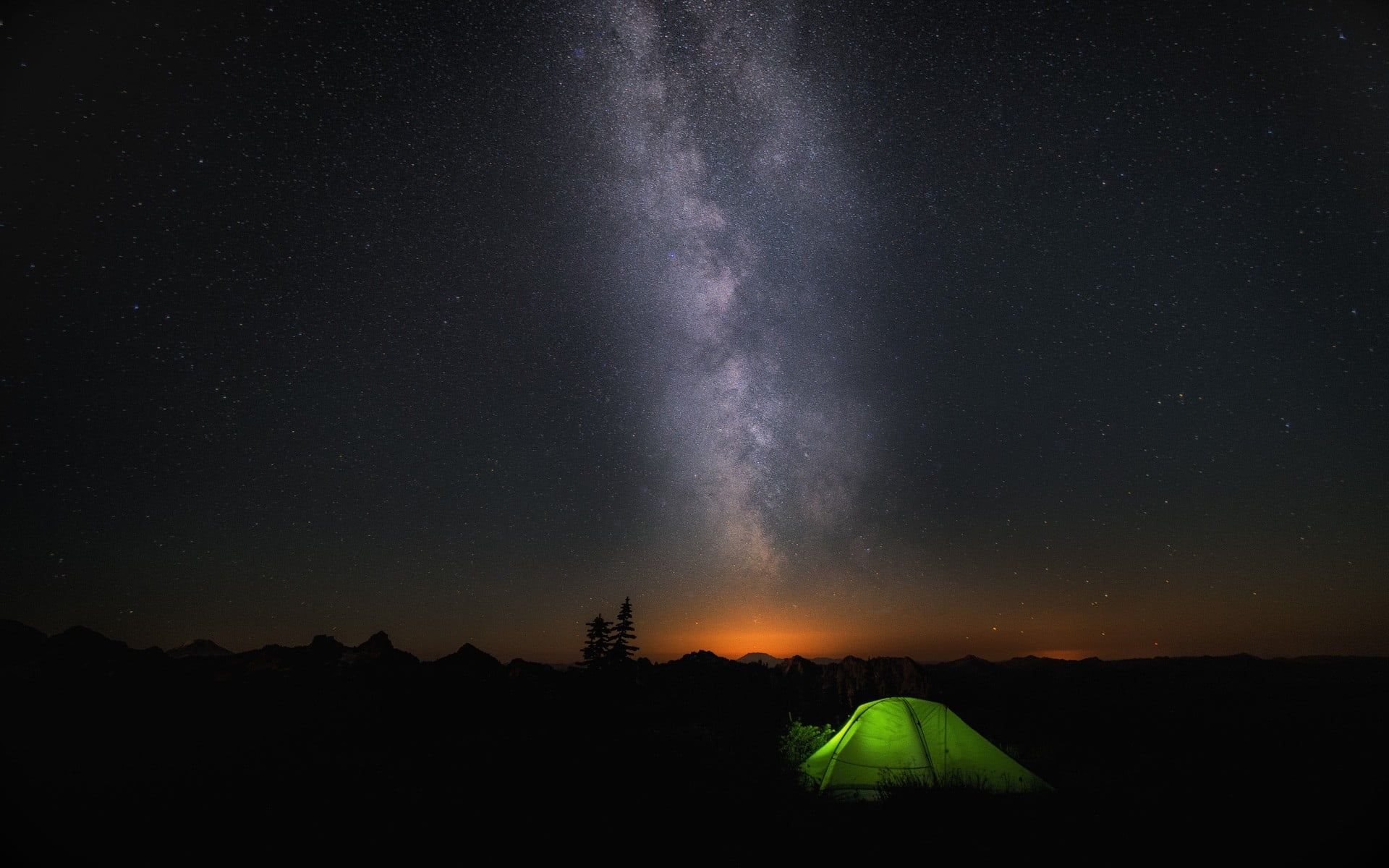 Green Outdoor Camping Tent Microsoft Windows Windows 10 Galaxy Tent Night Nature 1080p Wallpaper Hdwallpap Camping Wallpaper Landscape Wallpaper Outdoor