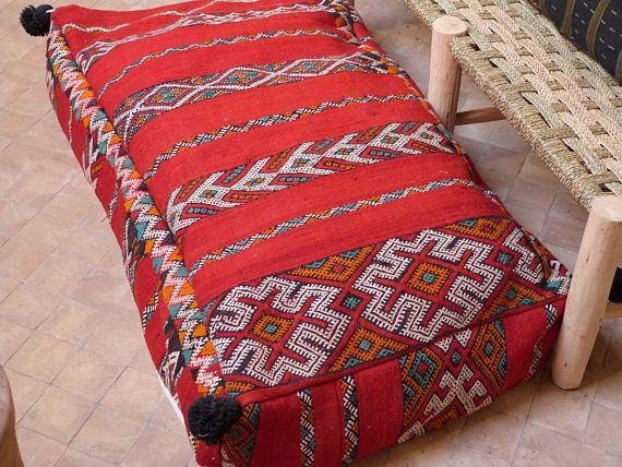 Kilim Pouf Pillow Moroccan Double Pouf Floor Pouf Floor Pillow Xxl