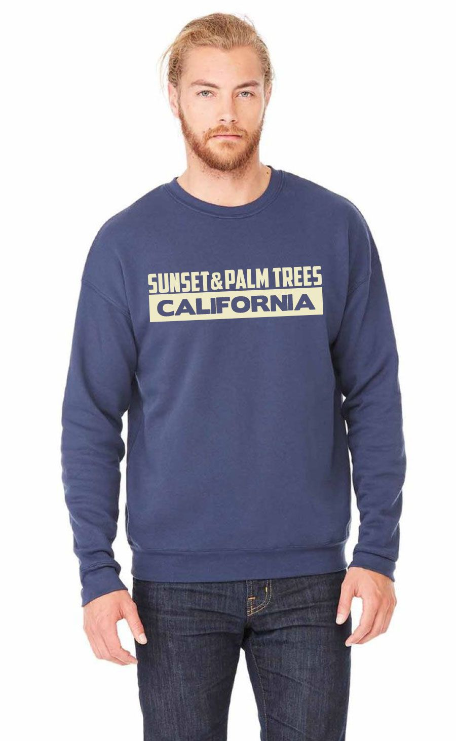 Sunset California Sweater  A soft navy crewneck sweater to keep you warm during those nights under the stars, or it could just be a little cold outside.   100% cotton