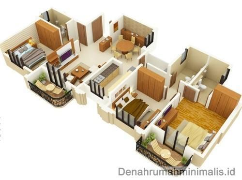 Denah Rumah Minimalis Sempit 3d 1 Lantai 3 Kamar Tidur Denah Rumah Rumah Minimalis Rumah