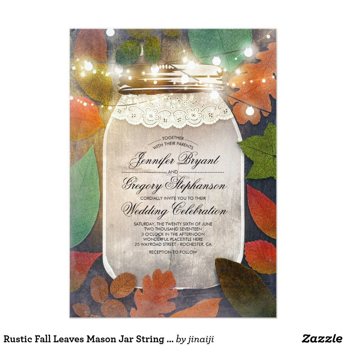 Rustic country burlap string lights lace wedding card - Rustic Fall Leaves Mason Jar String Lights Wedding Card