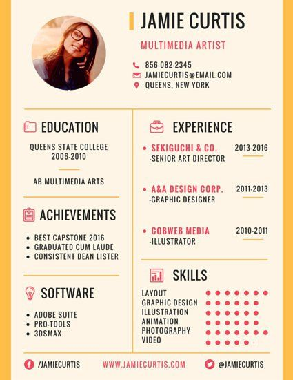 perfect template for a resume or blog media kit  click through to edit on canva for free