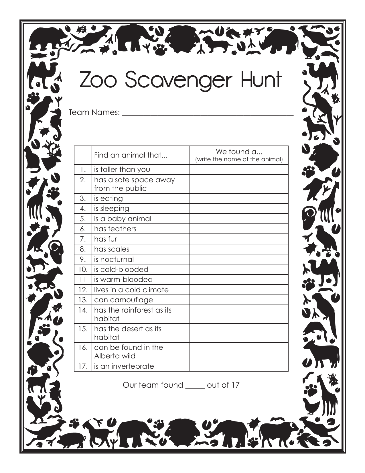 Zoo Field Trip Scavenger Hunt Resource Preview