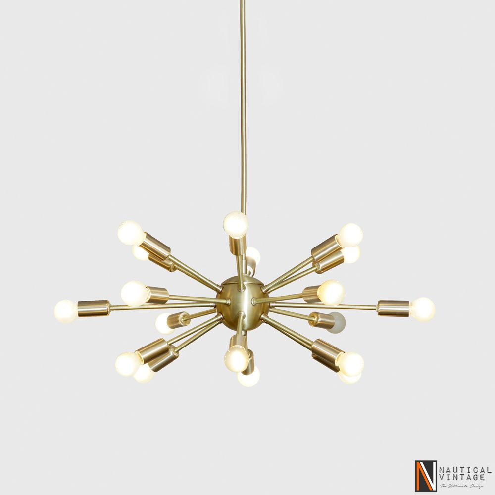Co Uk Itm Mid Century Modern Brushed Brass Sputnik Chandelier Light Fixture 18 Lights 232170060704