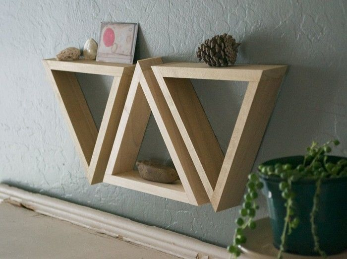 triangle shelves. love these! so many fun things I can use them for!