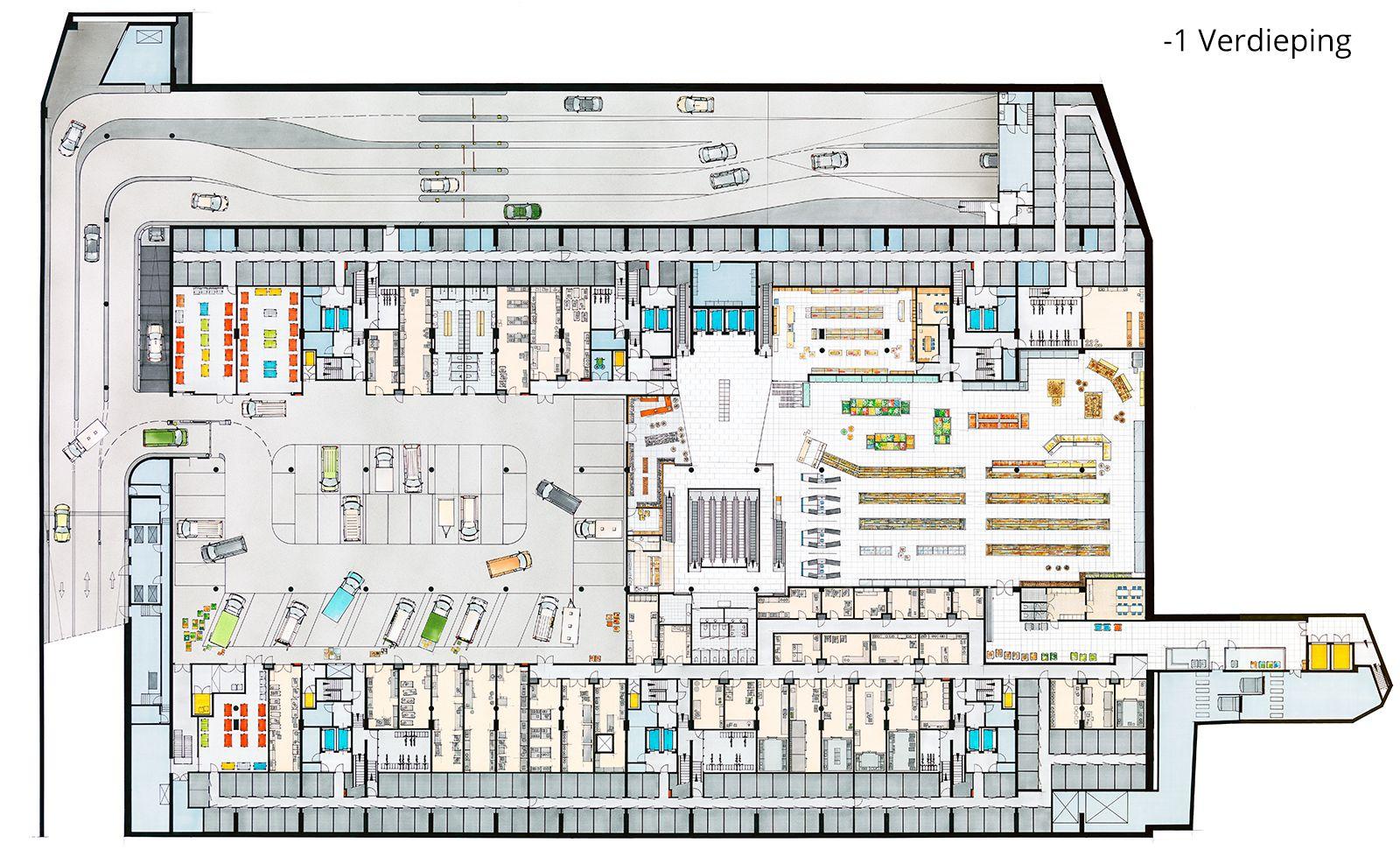Mvrdv Market Hall Rotterdam Building Design Plan Supermarket Design Architectural Floor Plans