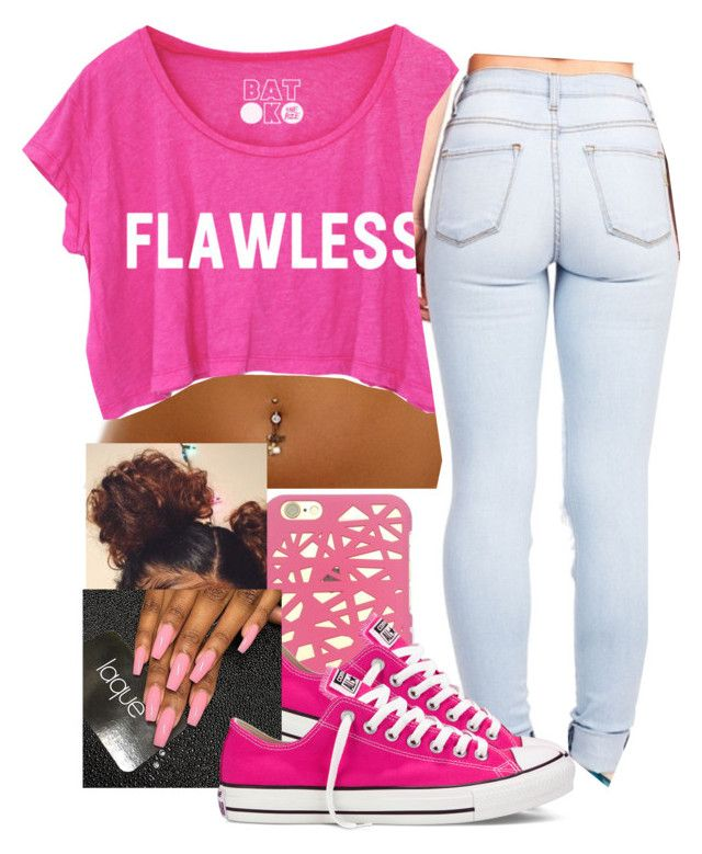 """Flawless in hot pink"" by arii-bankss ❤ liked on Polyvore featuring Converse"