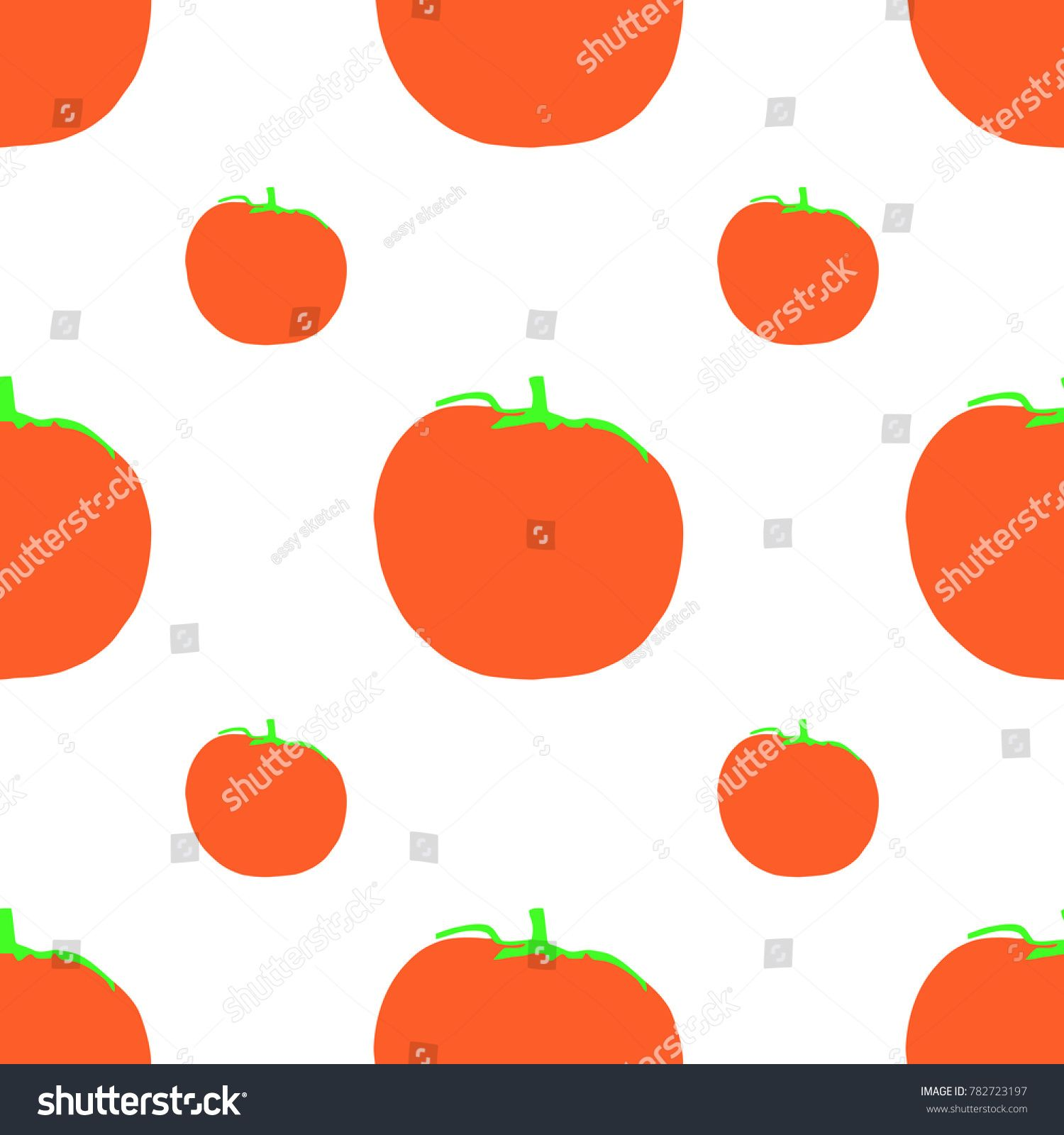 a seamless pattern of tomatoes in red orange with a green stem and a
