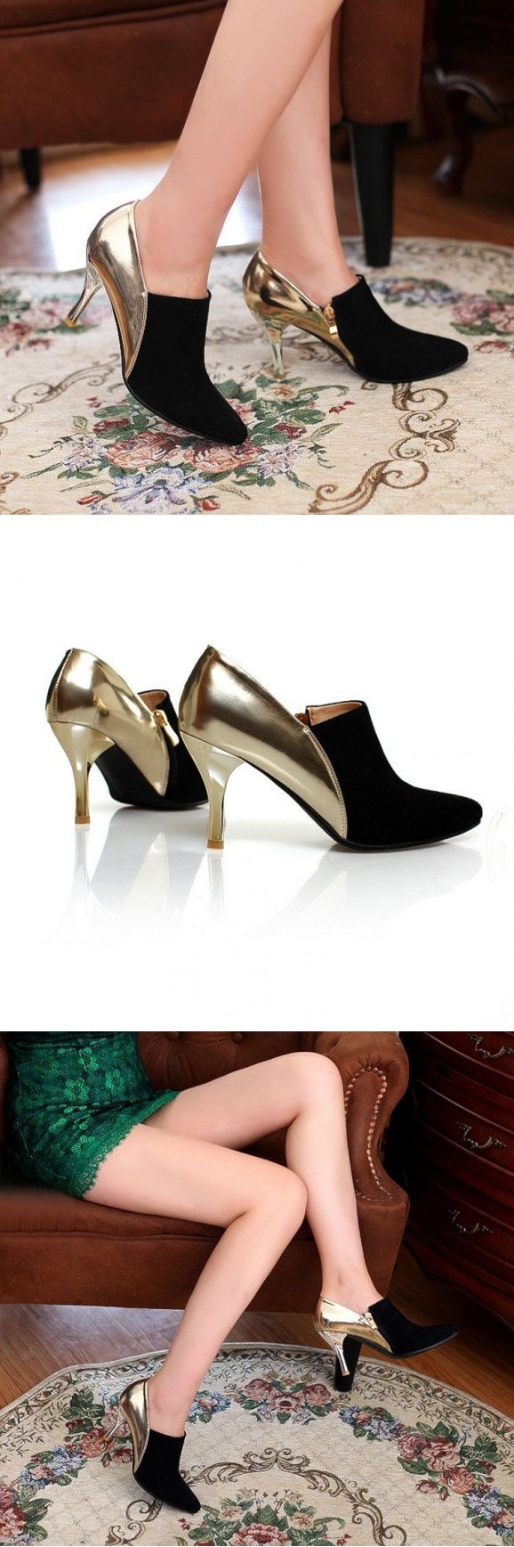 Ebony Velvety Rotters Women Vintage Steel Sequined Pinstripe Evening Shoes…