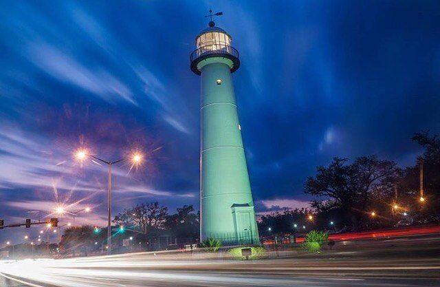 Sunset Behind The Biloxi Lighthouse On The Mississippi Gulf Coast