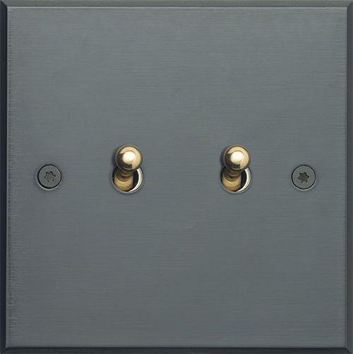 interrupteur levier double en bronze contemporain. Black Bedroom Furniture Sets. Home Design Ideas