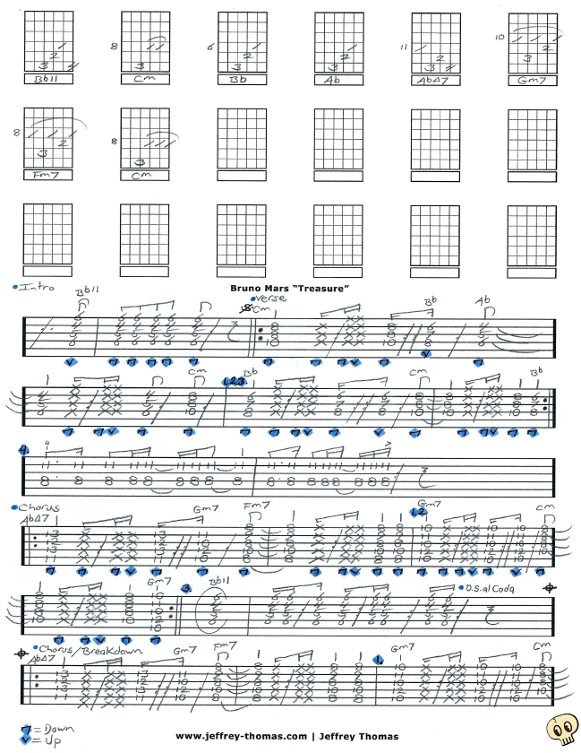Bruno Mars Treasure Guitar Tab By Jeffrey Thomas Learn The Right
