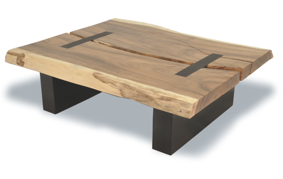 Made with a single slab from a naturally fallen tamboril for Wood slab coffee table