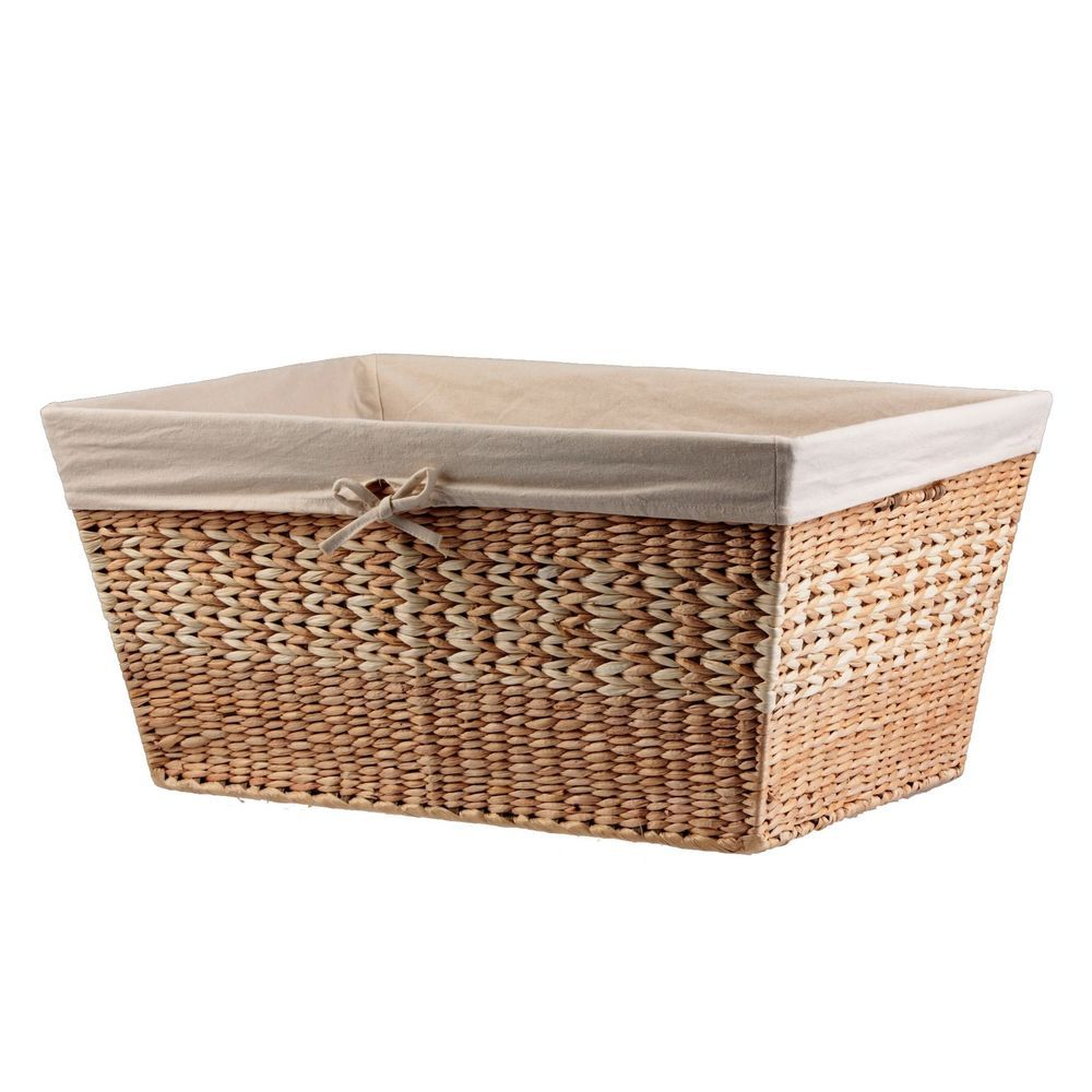 Natural Large Wicker Laundry Basket With Liner Clothes Storage