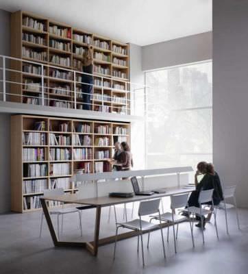 Mobiliario biblioteca Jakin Sellex de Abad diseño