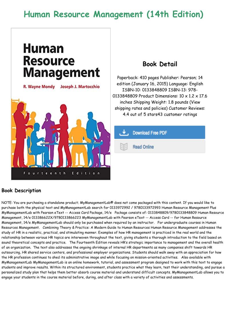 Pdf Human Resource Management 14th Edition Full Books Human Resource Management Human Resources Management