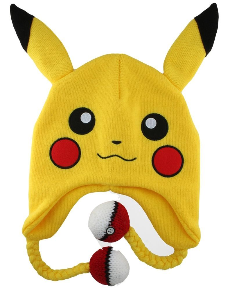 9ef853bdf17 Pikachu Face Anime Plush Cap Beanie Cosplay Hat Warm-Cap Fitted Size 8  Large