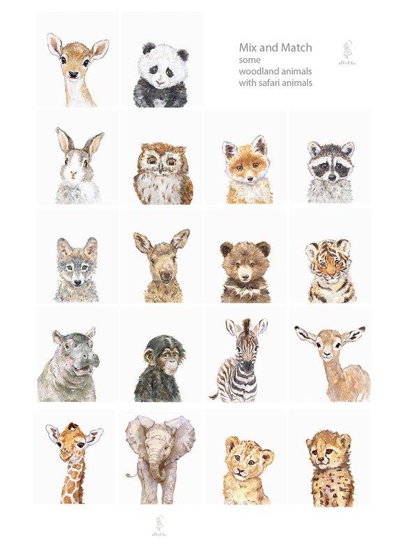 Portrait animaux lot de 6, jet dencre, art de salle de jeux, bébé Animal Prints, bébé Lion, girafe, zèbre, renard, cerf, lapin