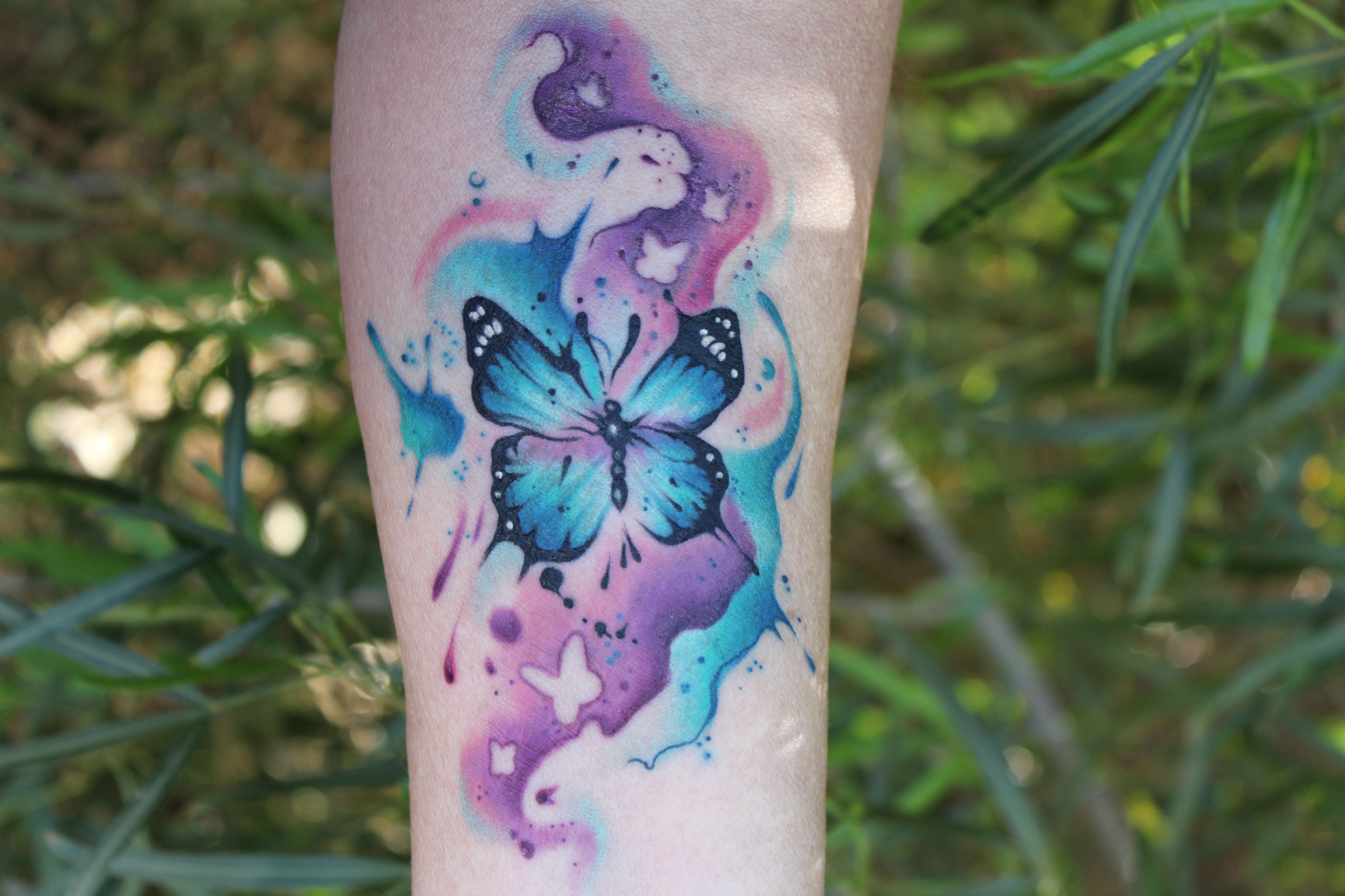 Thanks Again Cheryl Fun Watercolor Butterfly Butterflytattoo Semicolontattoo Watercolortattoo Customt Butterfly Tattoo Butterfly Watercolor Custom Tattoo