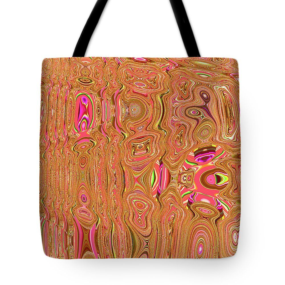 Orange Things Abstract Tote Bag by Tom Janca.  The tote bag is machine washable, available in three different sizes, and includes a black strap for easy carrying on your shoulder.  All totes are available for worldwide shipping and include a money-back guarantee.