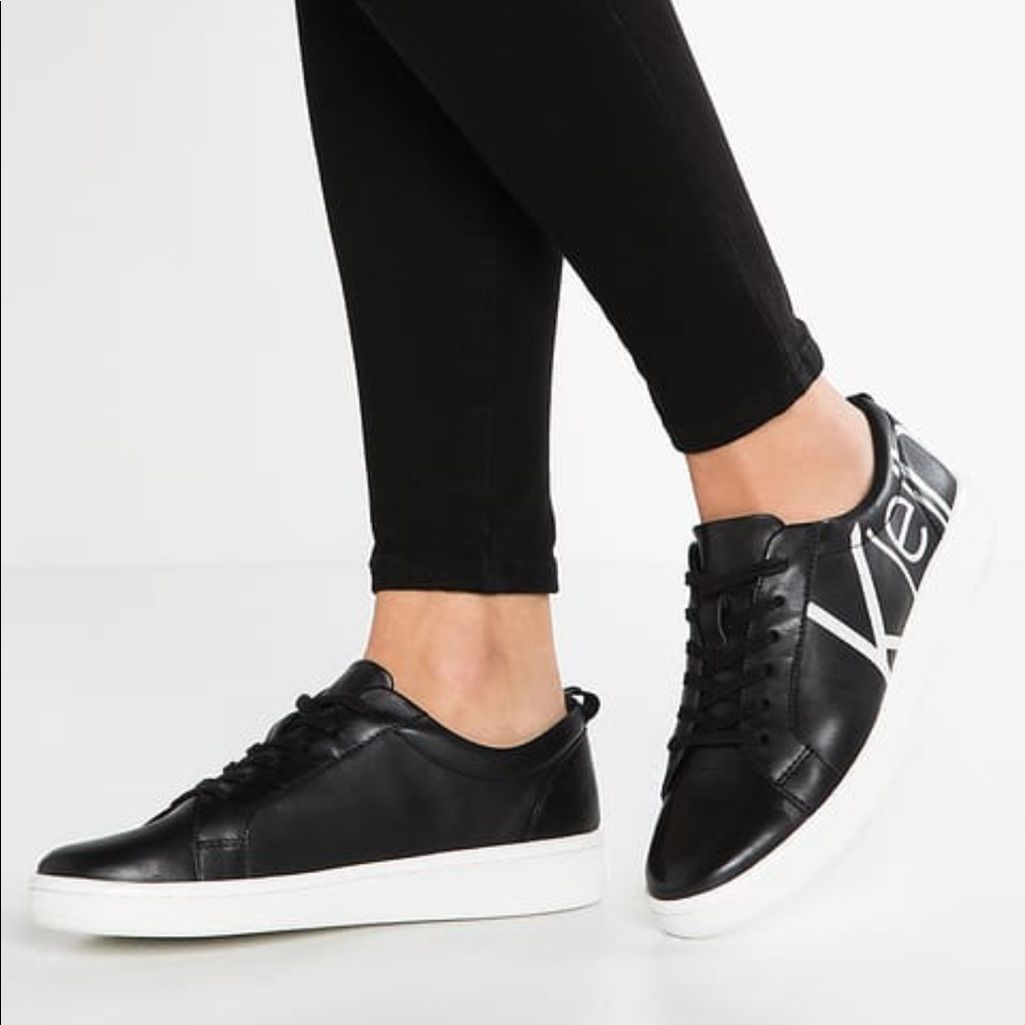 Blk And White Calvin Klein Sneakers