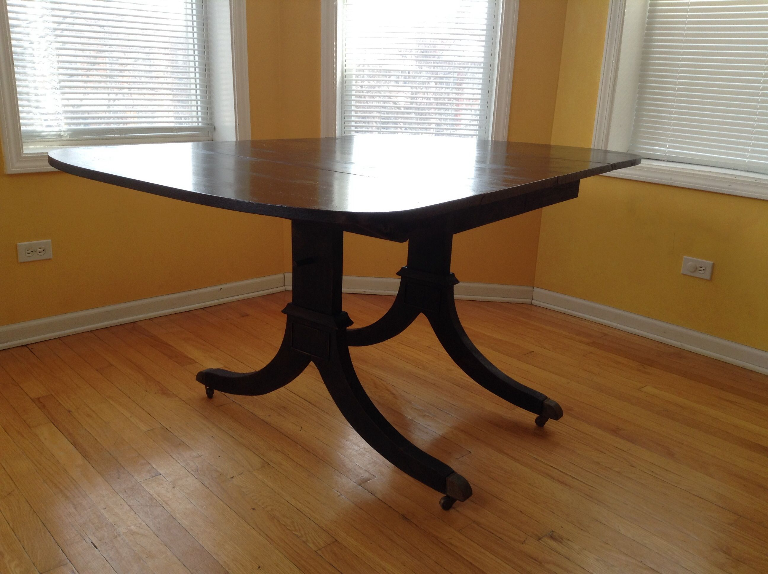 Torched Antique Double Pedestal Dining Table Torched