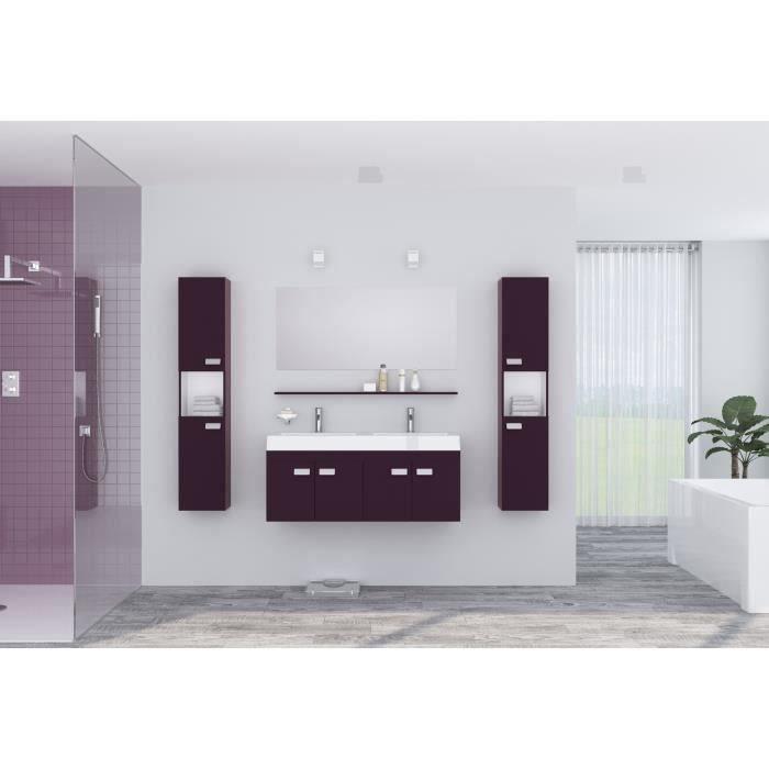 Alpos Ensemble Salle De Bain Double Vasque Avec Miroir L 120 Cm Laque Aubergine Brillant Bathroom Lighting Furniture Home Decor