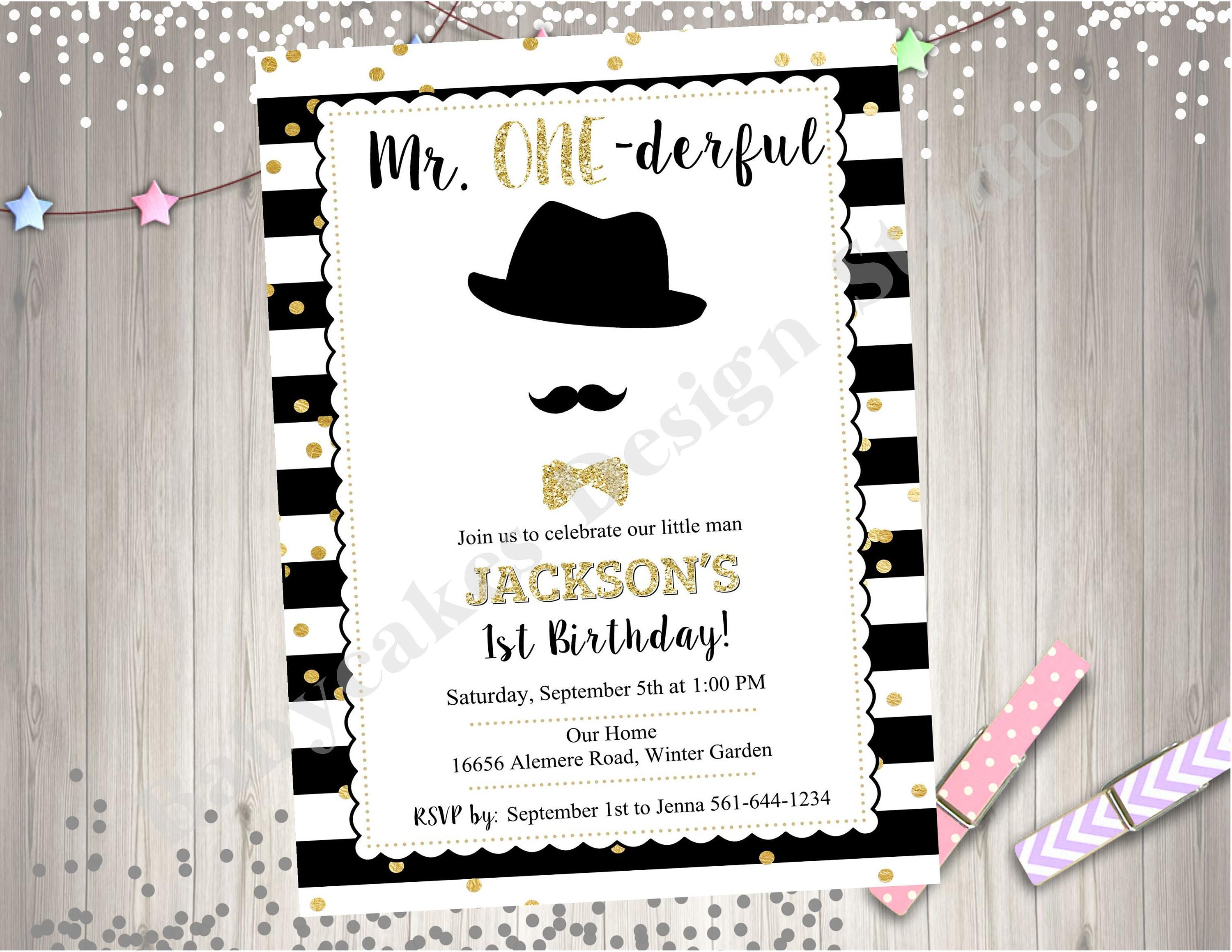 Mr. ONEderful 1st Birthday Invitation Invite Moustache Bash Little ...