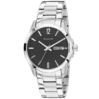Accurist - Mens Black Dial Stainless Steel Watch - MB987B  RRP: £70.00 Online price: £55.99 You Save: £14.01 (20%)  www.lingraywatches.co.uk