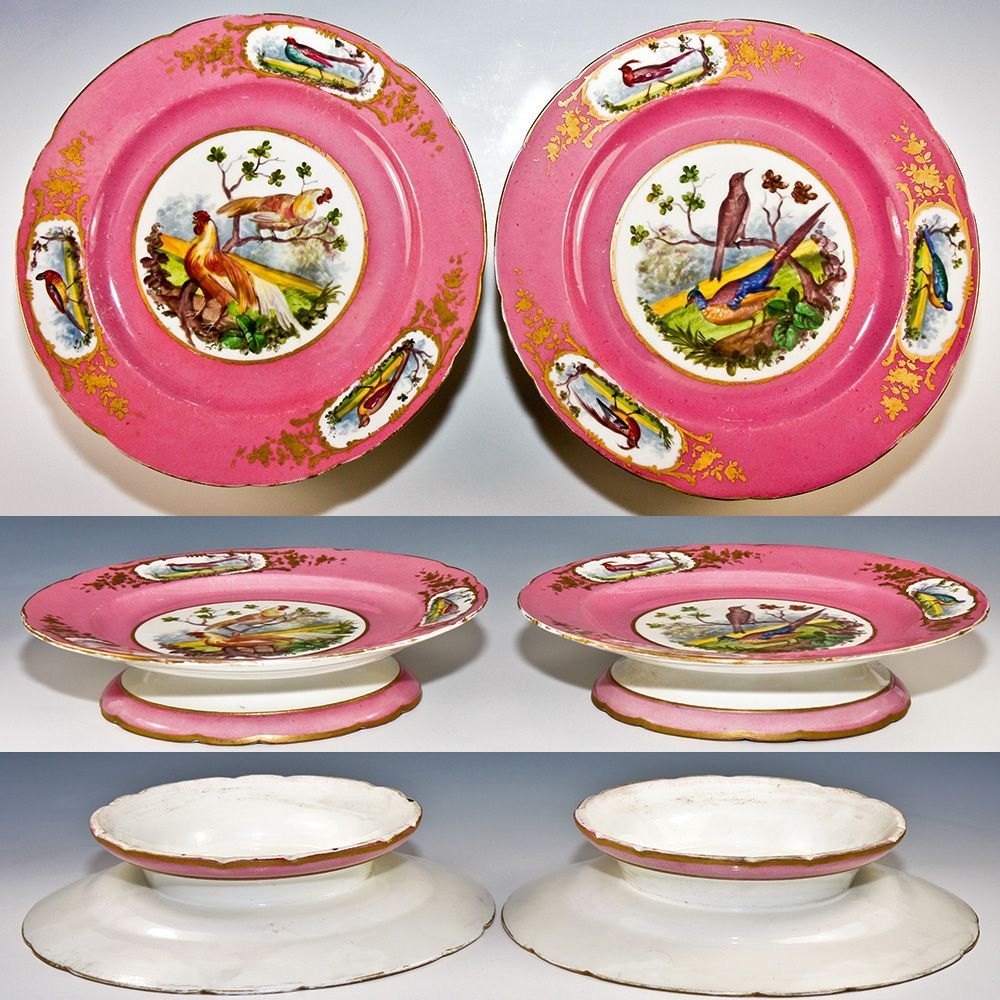 Pair of Antique Hand Painted Old Paris Raised Tazza Cake Plates  sc 1 st  Pinterest & Pair of Antique Hand Painted Old Paris Raised Tazza Cake Plates ...