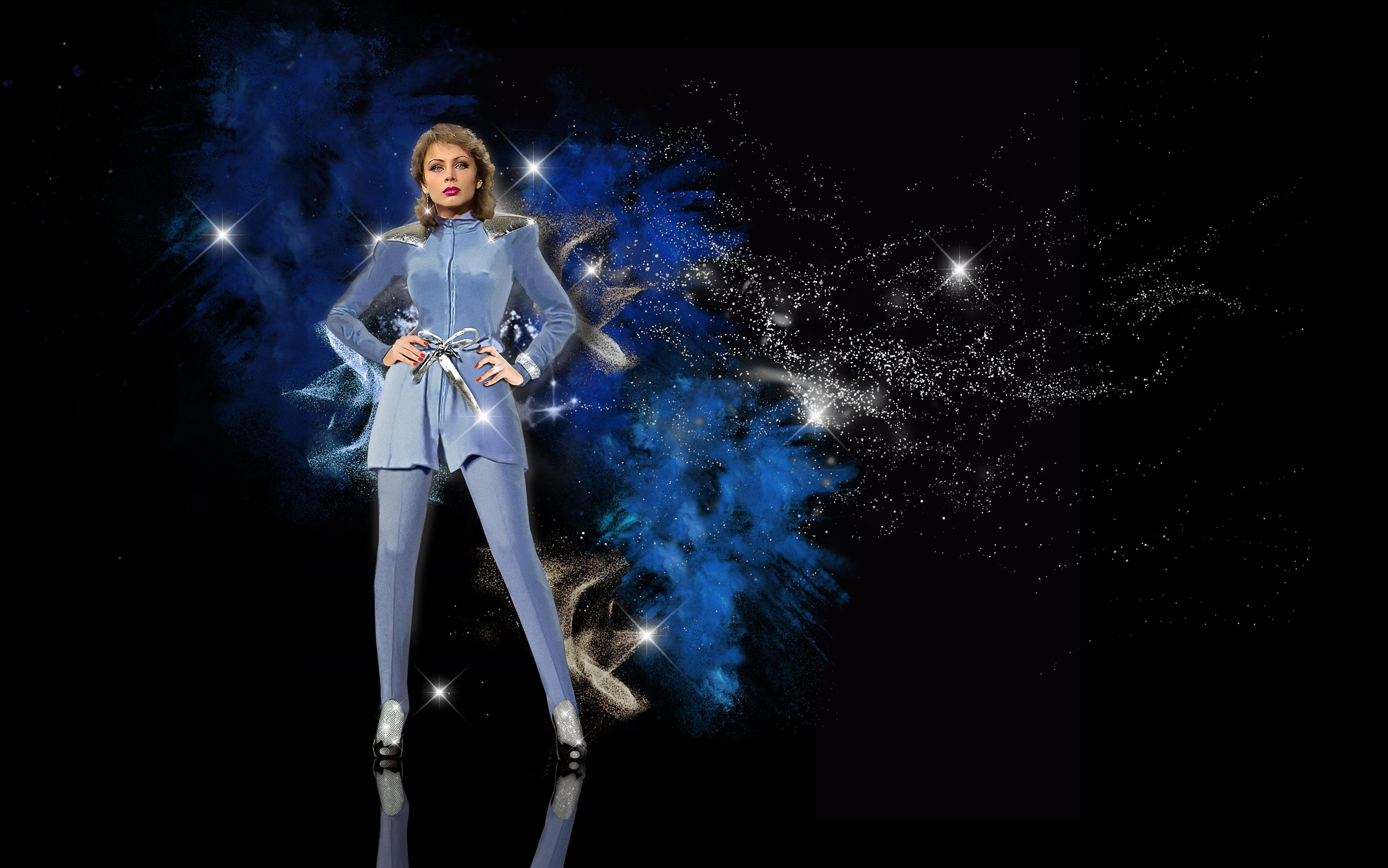 Izabela Trojanowska Sopot 1980 Blue Jumpsuit Outfit