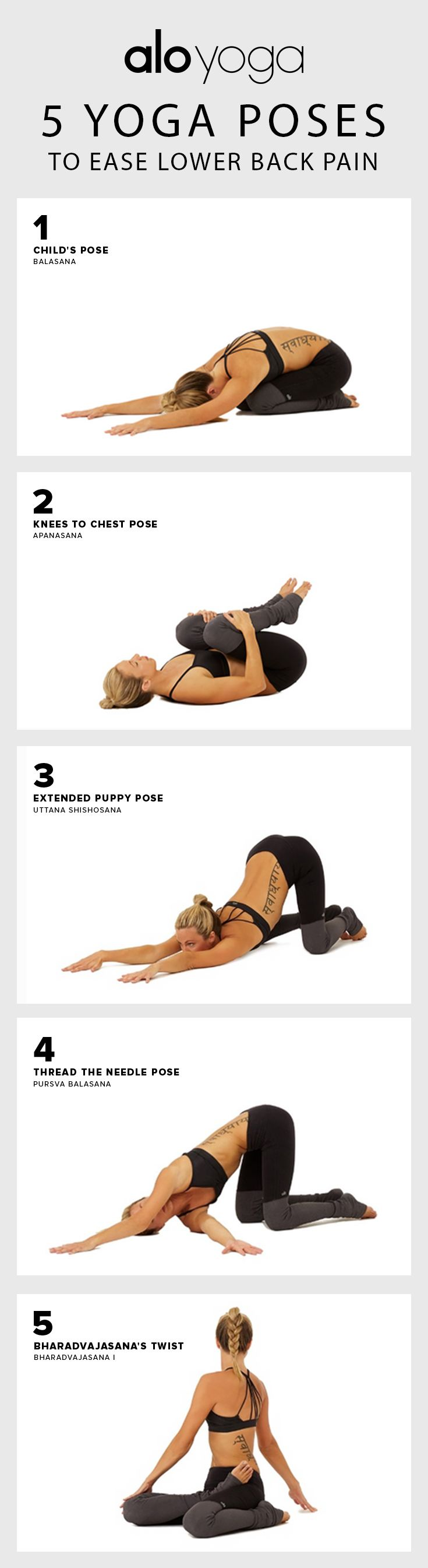 Getting rid of lower back pain the easy way 5 Yoga Poses to Ease Lower Back Pain #yoga #yogaposes #backpain