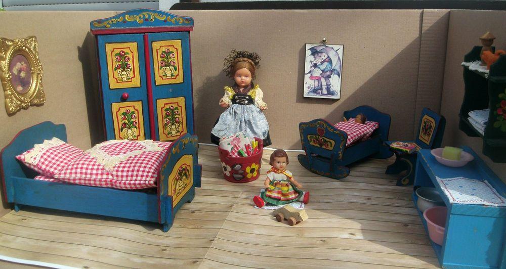 Puppenstube Schlafzimmer Puppen Bauernmalerei Bett Wiege Schrank